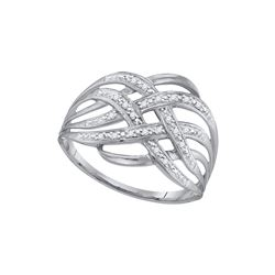 Diamond Woven Fashion Band Ring 1/20 Cttw 10kt White Gold
