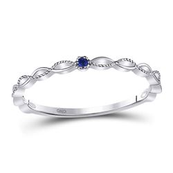 Round Blue Sapphire Milgrain Stackable Band Ring .01 Cttw 10kt White Gold