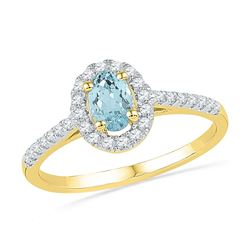 Oval Lab-Created Aquamarine Solitaire Diamond Ring 1/5 Cttw 10kt Yellow Gold