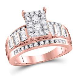 Diamond Cluster Bridal Wedding Engagement Ring 1/2 Cttw 10kt Rose Gold