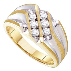 Mens Diamond Double Row Two-tone Ridged Band Ring 1/2 Cttw 10kt Yellow Gold