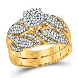 Diamond Cluster Bridal Wedding Engagement Ring Band Set 3/8 Cttw 10kt Yellow Gold