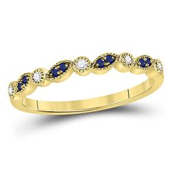 Round Blue Sapphire Diamond Stackable Band Ring 1/10 Cttw 10kt Yellow Gold