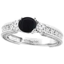 1.19 CTW Onyx & Diamond Ring 14K White Gold - REF-84W7F