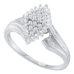 Round Prong-set Diamond Oval Cluster Ring 1/8 Cttw 10kt White Gold
