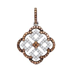 Round Brown Diamond Square Pendant 1/2 Cttw 10kt White Gold