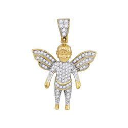Mens Diamond Guardian Angel Charm Pendant 1/3 Cttw 10kt Yellow Gold