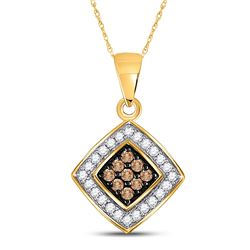 Round Brown Diamond Square Pendant 1/4 Cttw 10kt Yellow Gold