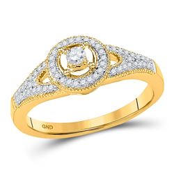Diamond Encircled Solitaire Milgrain Promise Bridal Ring 1/4 Cttw 10kt Yellow Gold