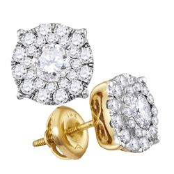 Diamond Cluster Earrings 1-1/2 Cttw 14kt Yellow Gold
