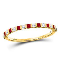 Ruby Diamond Alternating Stackable Band Ring 3/8 Cttw 10kt Yellow Gold