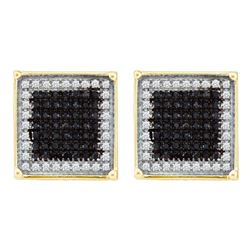 Mens Round Black Color Enhanced Diamond Square Frame Cluster Earrings 7/8 Cttw 10kt Yellow Gold