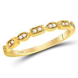 Diamond Geometric Stackable Band Ring 1/10 Cttw 14kt Yellow Gold