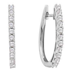 Diamond Single Row Hoop Earrings 1.00 Cttw 14kt White Gold