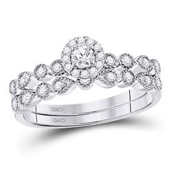 Diamond Stackable Bridal Wedding Engagement Ring Band Set 1/3 Cttw 10kt White Gold