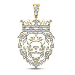 Mens Diamond King Lion Crown Charm Pendant 3/4 Cttw 10kt Yellow Gold