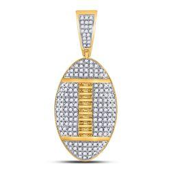 Mens Diamond Football Charm Pendant 1-1/3 Cttw 10kt Yellow Gold