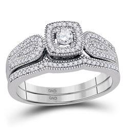 Diamond Square Halo Bridal Wedding Engagement Ring Band Set 1/3 Cttw 10kt White Gold