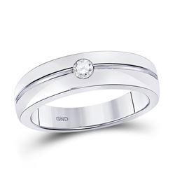 Mens Round Bezel-set Diamond Wedding Band Ring 1/6 Cttw 14kt White Gold