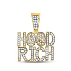 Mens Diamond Hood Rich Charm Pendant 1-3/4 Cttw 10kt Yellow Gold
