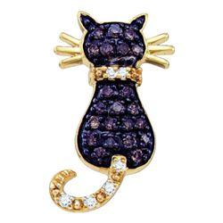 Brown Diamond Kitty Cat Pendant 1/3 Cttw 10k Yellow Gold