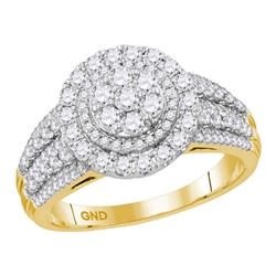 Diamond Concentric Circle Cluster Bridal Wedding Engagement Ring 1.00 Cttw 14kt Yellow Gold