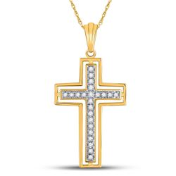 Diamond Cross Pendant 1/4 Cttw 10kt Yellow Gold
