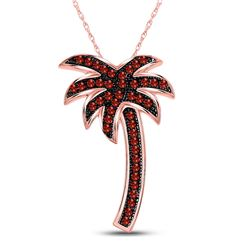 Round Red Color Enhanced Diamond Palm Tree Beach Pendant 1/4 Cttw 10kt Rose Gold