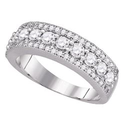 Round Pave-set Diamond Symmetrical Parallel Band 1 Cttw 14kt White Gold