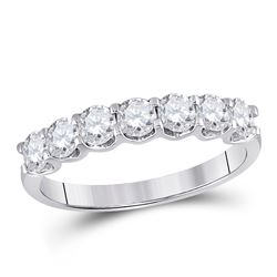 Diamond Classic Anniversary Band Ring 1.00 Cttw 14kt White Gold