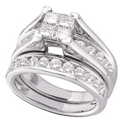 Diamond Bridal Wedding Engagement Ring Band Set 3.00 Cttw 14kt White Gold