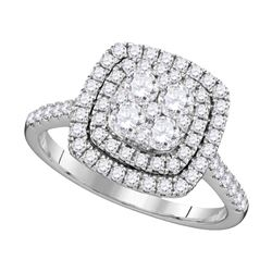 Diamond Square Double Halo Cluster Ring 1.00 Cttw 14kt White Gold