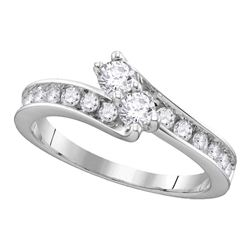 Diamond 2-stone Hearts Together Bridal Wedding Engagement Ring 3/4 Cttw 14kt White Gold