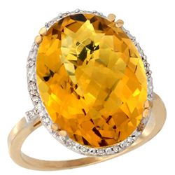 13.71 CTW Quartz & Diamond Ring 14K Yellow Gold - REF-53M8A