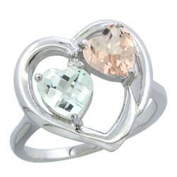 1.91 CTW Diamond, Aquamarine & Morganite Ring 10K White Gold - REF-30H6M