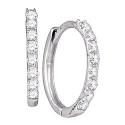 Diamond Hoop Earrings 1/3 Cttw 10kt White Gold