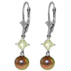 Genuine 5 ctw Pearl & Aquamarine Earrings 14KT White Gold - REF-32R2P