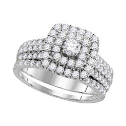 Diamond Double Square Halo Bridal Wedding Engagement Ring Band Set 1-3/4 Cttw 14kt White Gold