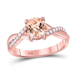 Round Morganite Solitaire Ring 1-1/3 Cttw 10kt Rose Gold