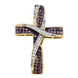 Round Brown Diamond Cross Pendant 1/2 Cttw 10kt Yellow Gold