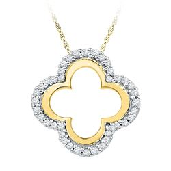 Diamond Quatrefoil Cutout Pendant 1/8 Cttw 10kt Yellow Gold