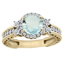 1.46 CTW Aquamarine & Diamond Ring 14K Yellow Gold - REF-76V9R