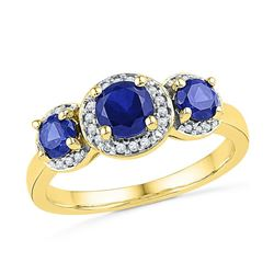Round Lab-Created Blue Sapphire 3-stone Diamond Ring 1-3/8 Cttw 10kt Yellow Gold