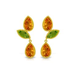 Genuine 13.6 ctw Citrine & Peridot Earrings 14KT Yellow Gold - REF-62T4A