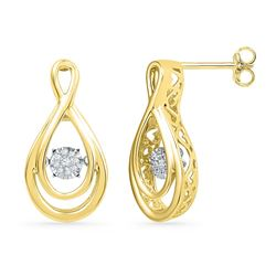 Diamond Moving Twinkle Cluster Teardrop Stud Earrings 1/20 Cttw 10kt Yellow Gold
