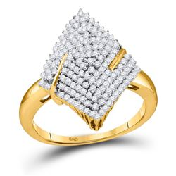 Diamond Pointed Oval Arched Cluster Ring 1/2 Cttw 10kt Yellow Gold