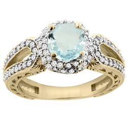 1.25 CTW Aquamarine & Diamond Ring 14K Yellow Gold - REF-88A8X