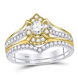Diamond Bridal Wedding Engagement Ring Band Set 7/8 Cttw 14kt Two-tone Gold