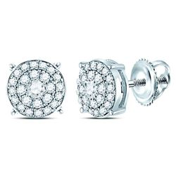 Diamond Concentric Circle Cluster Earrings 1/4 Cttw 14kt White Gold