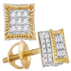 Mens Diamond Square Fluted 3D Cluster Stud Earrings 1/3 Cttw 10kt Yellow Gold